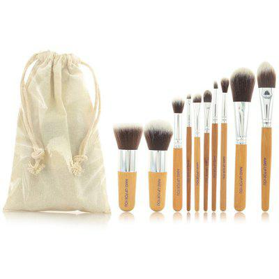10 Pcs Bamboo Handle Fiber Makeup Brushes Kit