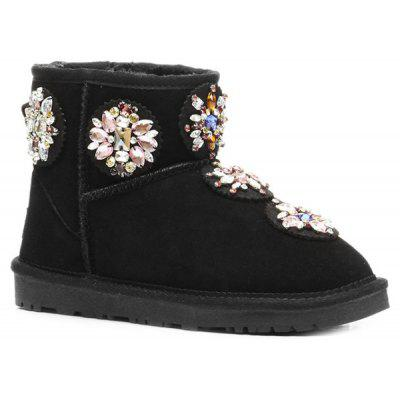 Colored Rhinestone Suede Snow Boots