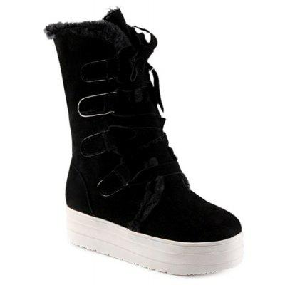 Fold Down Lace Up Platform Mid Calf Boots