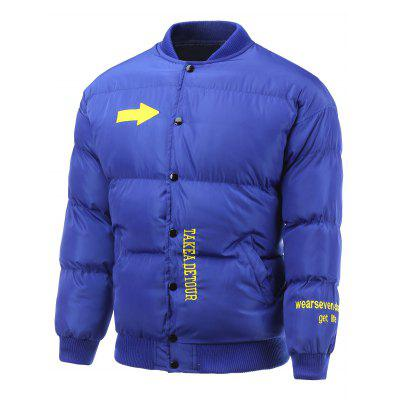 Side Pocket Snap Front Embroidered Padded Jacket