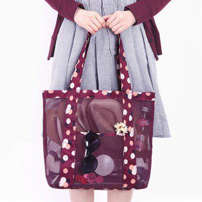 Print Mesh Splicing Shoulder Bag