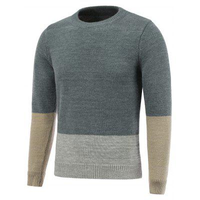 Crew Neck Pullover Color Block Sweater