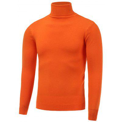 Buy LUMINOUS ORANGE Stretchy Roll Neck Pullover Knitwear for $19.43 in GearBest store