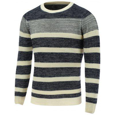 Buy CADETBLUE L Crew Neck Color Block Striped Sweater for $21.62 in GearBest store