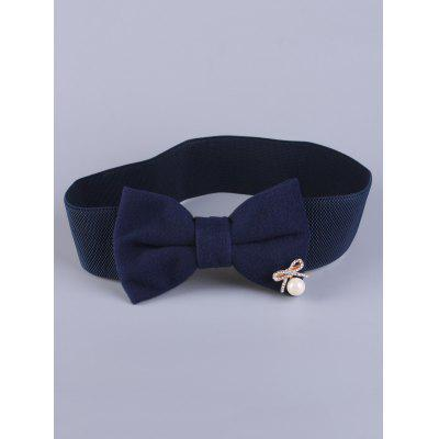 Coat Wear Faux Pearl Bowknot Stretch Belt