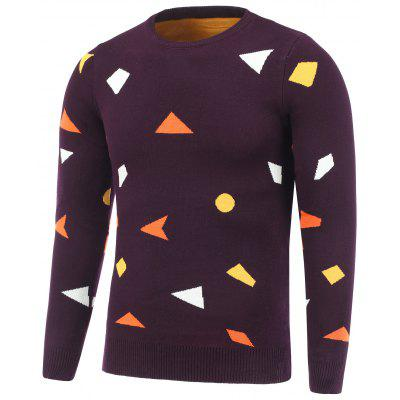 Buy DEEP RED Crew Neck Geometric Pullover Knitwear for $11.19 in GearBest store