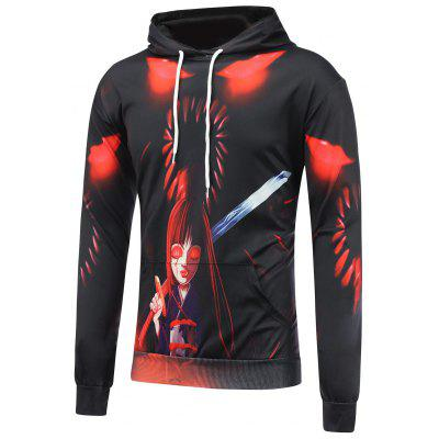 Cartoon Devil Girl Printed Pullover Hoodie