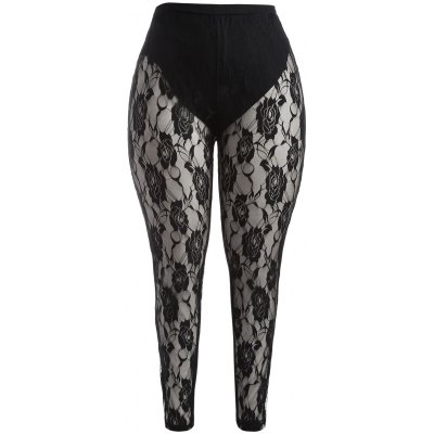 Plus Size Floral Graphic Leggings Dentelle