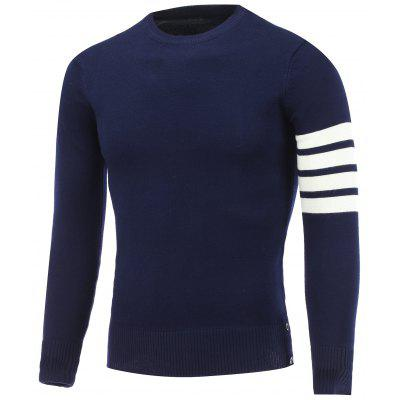 Crew Neck Striped Sleeve Pullover Knitwear
