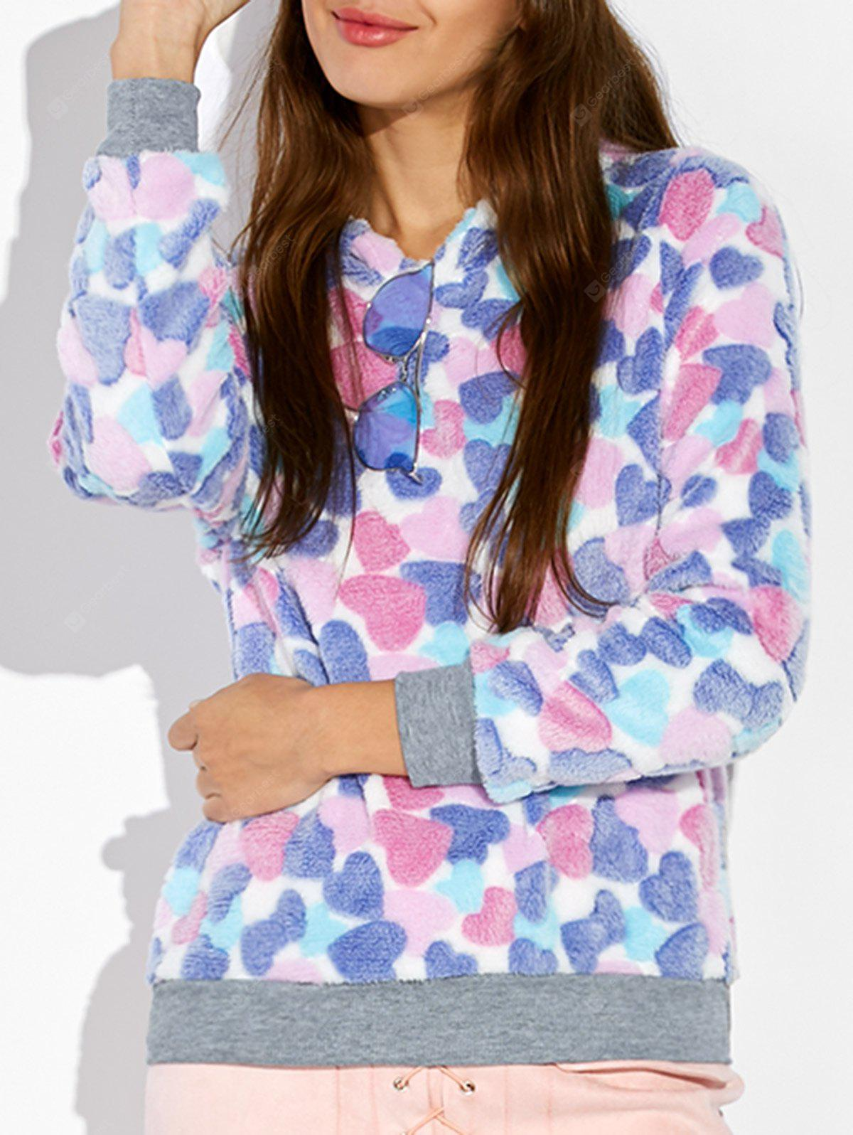Heart Pattern Fleece Hoodie