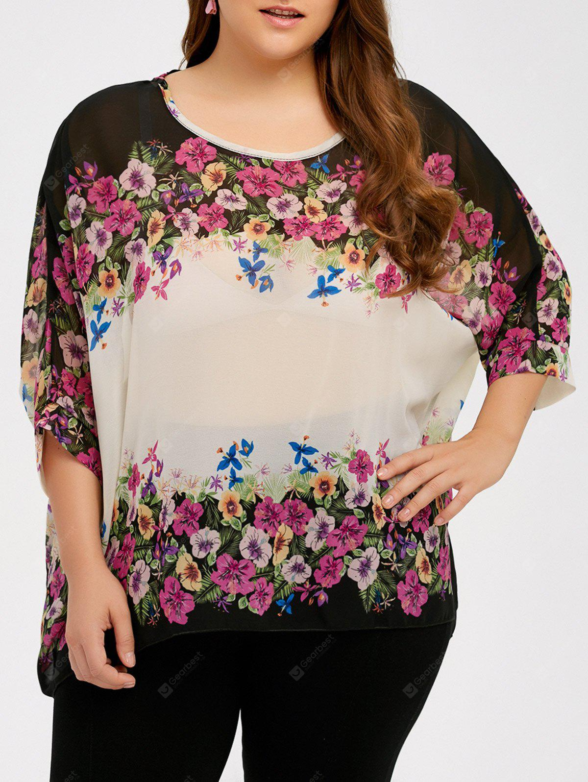 Plus Size Batwing Sleeve See Thru Blouse
