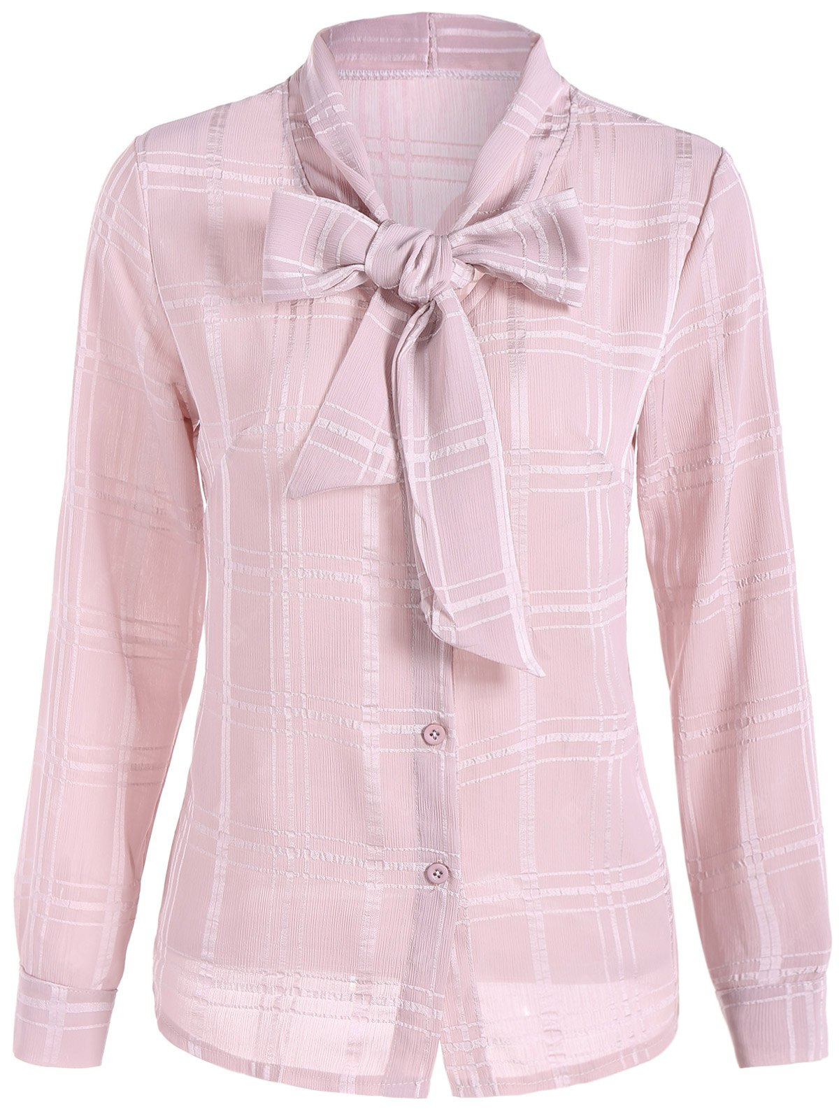 Grid Pussy Bow Tied Neck Blouse