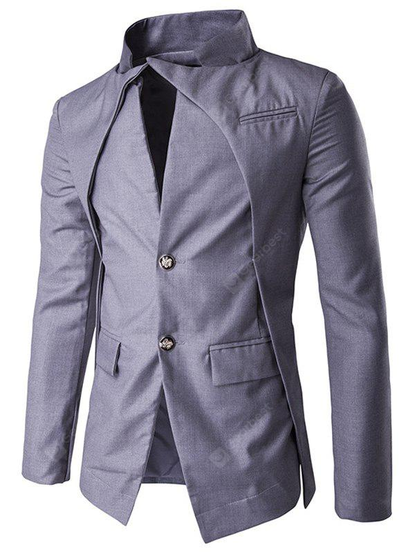 GRAY Pocket Stand Collar Layered Two Button Blazer