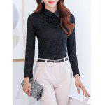 Flower Fleece Lace Top - BLACK