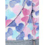 Heart Pattern Fleece Hoodie - COLORMIX