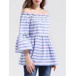 Off The Shoulder Bell Sleeve Striped Blouse - BLUE