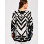 Plus Size Zigzag Pullover Sweater - WHITE AND BLACK