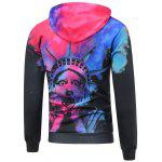 Statue of Liberty Printed Pullover Funny Hoodie - BLACK