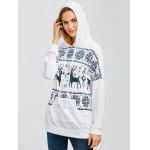 Drawstring Moose Fair Isle Hoodie - WHITE