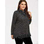 cheap Plus Size Polka Dot Insert Sweater