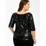 Plus Size Sequined Kurzarm T-Shirt - SCHWARZ