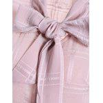 Grid Pussy Bow Tied Neck Blouse - LIGHT PINK