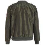 Zip Up Patched Bomber Jacket - ARMY GREEN