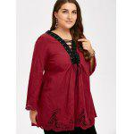 Plus Size Hollow Out Lace Up Blouse - WINE RED