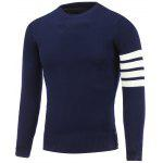 Crew Neck Striped Sleeve Pullover Knitwear - CADETBLUE