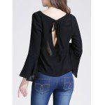 Bell Sleeve Cropped Blouse - BLACK