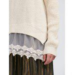 best Raglan Sleeve Lace Spliced Asymmetric Pullover Sweater