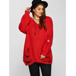 Distressed Plus Size Sweater - RED