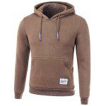 Drawstring Applique Hooded Long Sleeve Hoodie - CAFé
