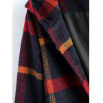 Hooded Plaid Overcoat - PURPLISH BLUE