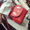 Colour Splicing Covered Closure Crossbody Bag - RED