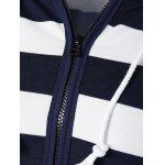 Striped Drawstring Zip Up Hoodie - PURPLISH BLUE