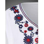 V Neck Floral Mexican Embroidered Dolman Blouse - WHITE