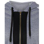 Color Block Zipper Up Hoodie With Pocket - GRAY