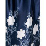 Floral Print Plus Size Tulip Dress - DEEP BLUE