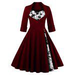 Knee Length Floral Flare Corset Dress - WINE RED