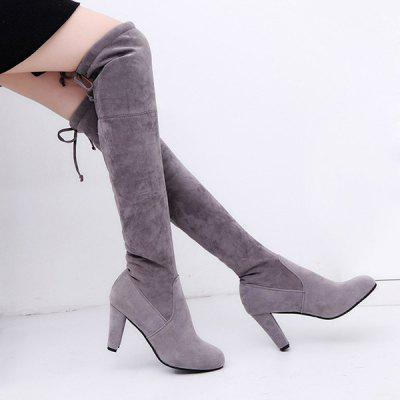 Chunky Thigh Heel Suede Thigh Chunky Boots bc8e91