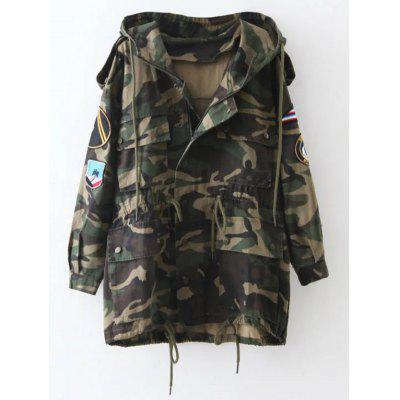 Embroidered Patched Hooded  Camo Utility Coat