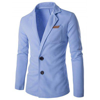 Lapel Single Breasted PU Pocket Jacket