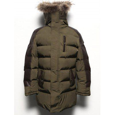 Paneled Pocket Faux Fur Hooded Padded Coat