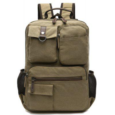 Pockets Canvas Colour Block Backpack