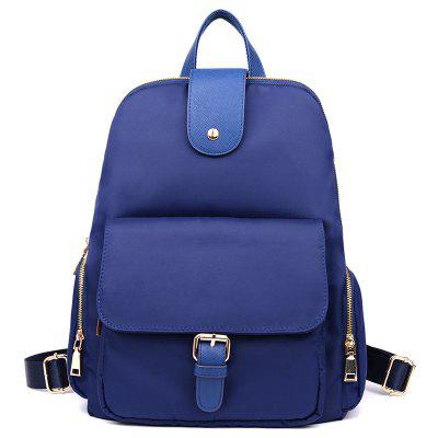 Side Zip Pockets Buckle Strap Nylon Backpack