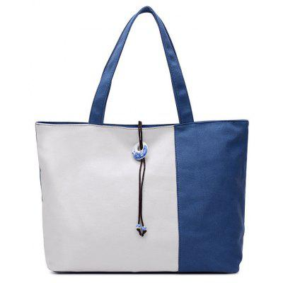Pendant Canvas Color Block Shoulder Bag