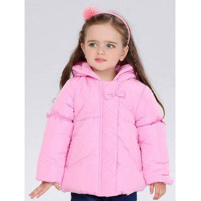 Kids Bowknot Hooded Puffer Jacket
