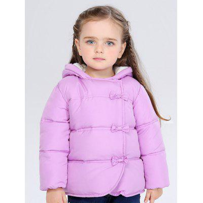 Kids Hooded Bowknot Puffer Jacket