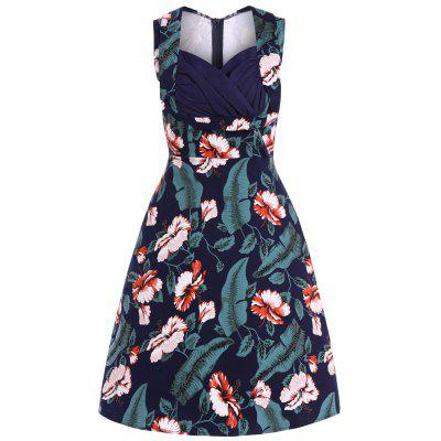 Stampa floreale Dress Retro Midi
